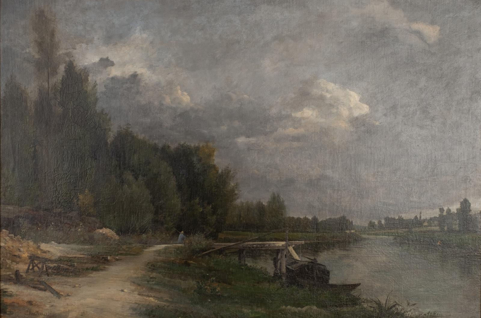 A moody painting of a landscape with a path along a river