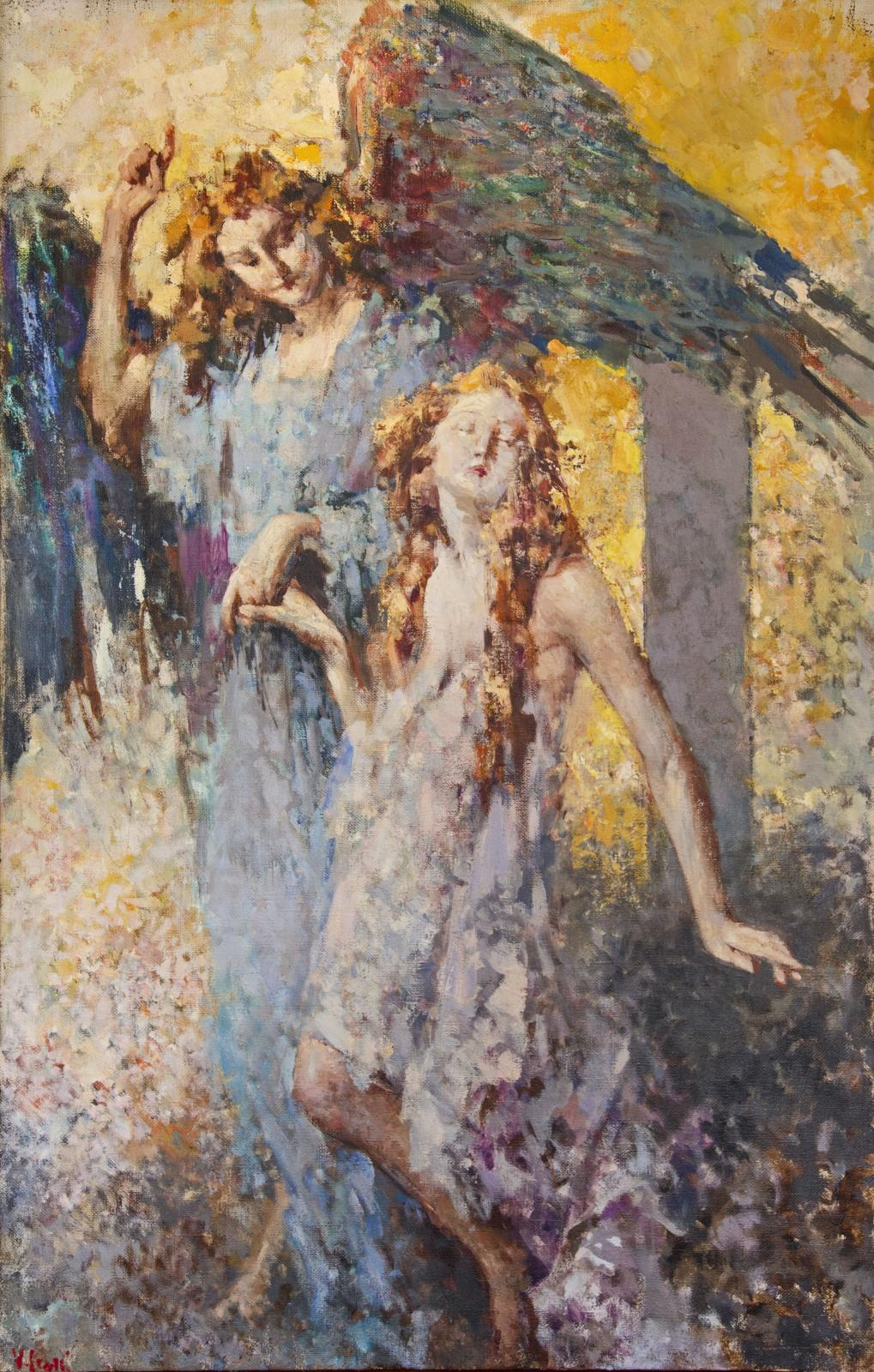 Impressionistic painting of an angel leading a young woman upward