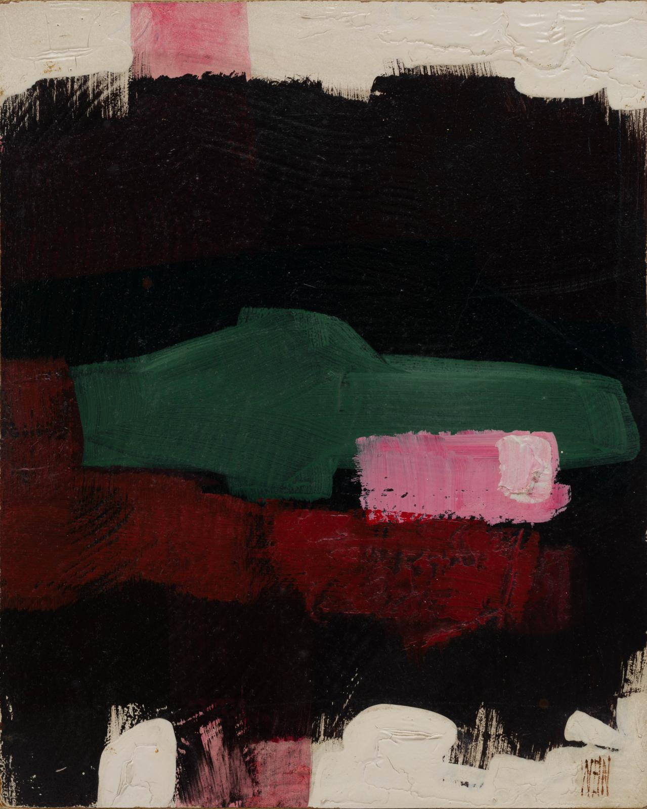 An abstract painting with rough geometric shapes in black green pink and red