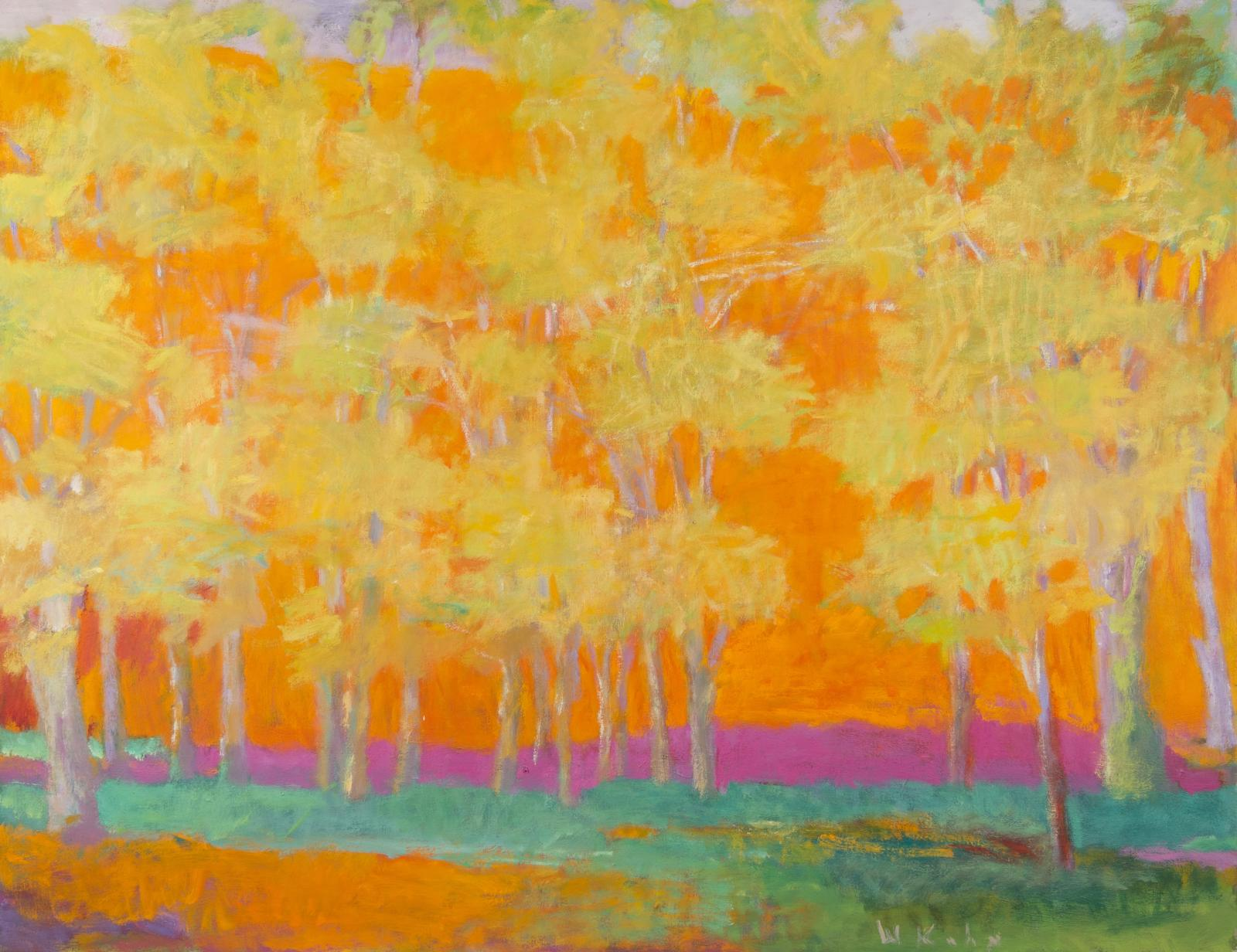 Wolf Kahn, Trees Against a Red Rising, 1993