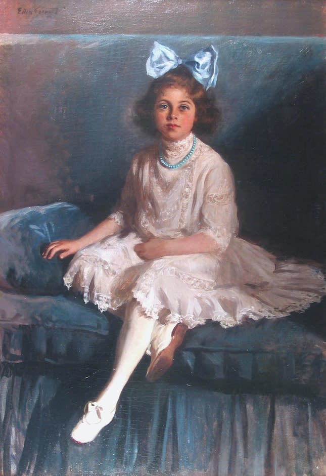 Young Girl in Blue and White