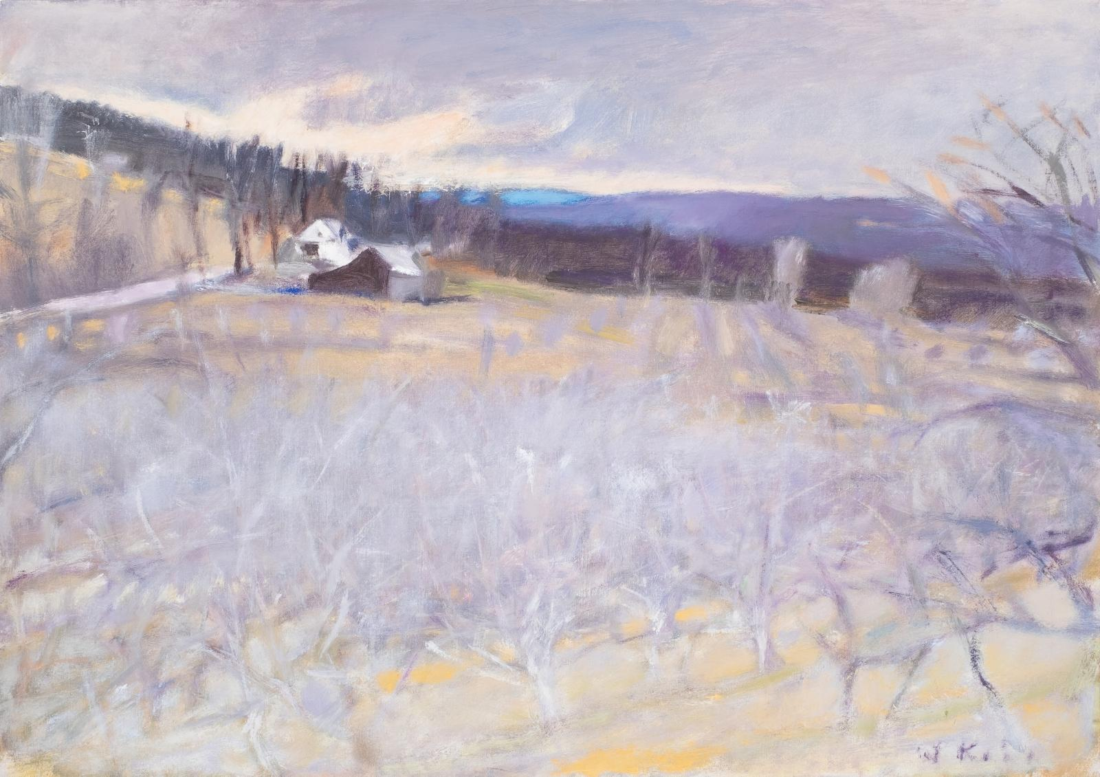 An oil painting of an orchard in winter with a house in the distance, painted in cool tones