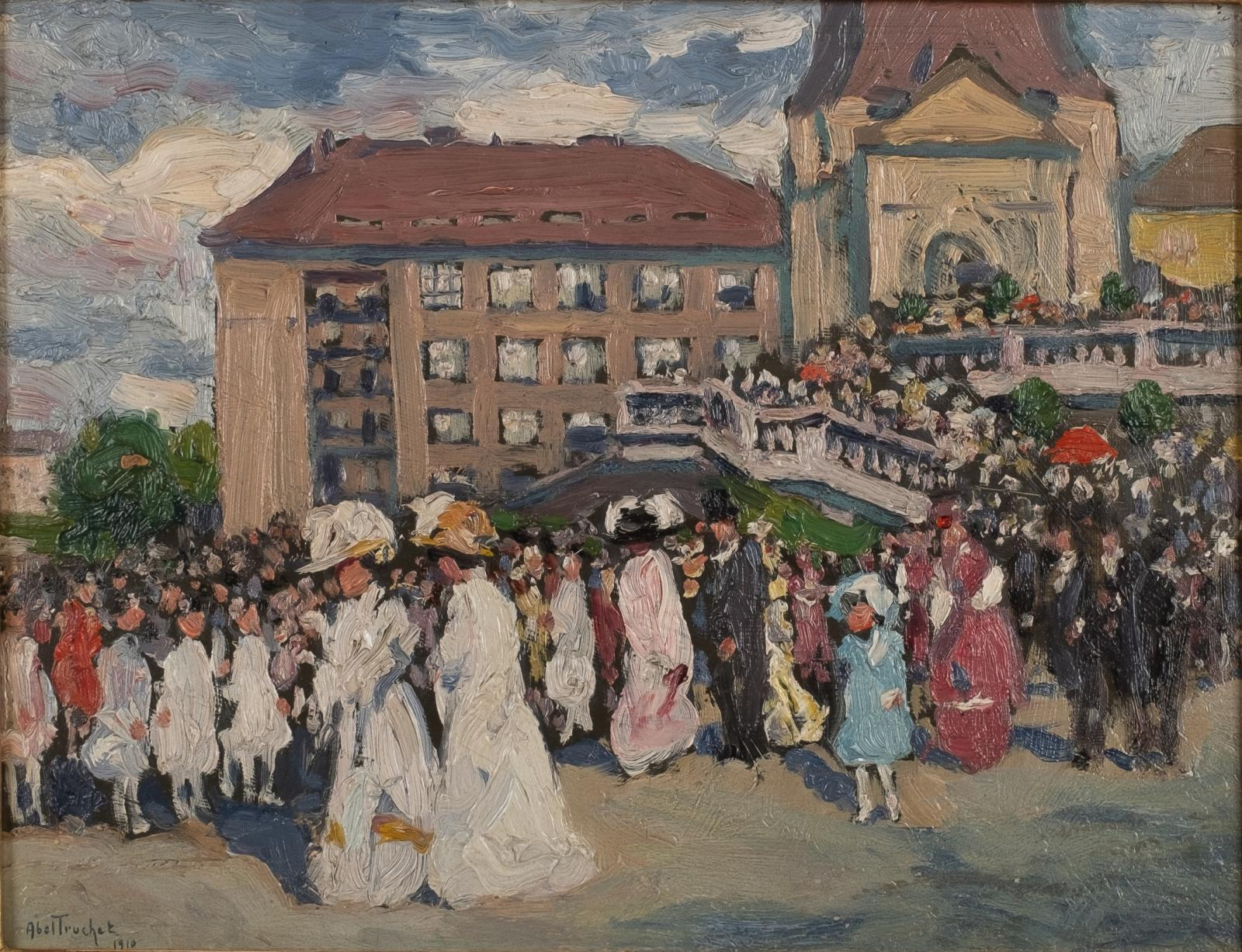 A painting of a promenade with many people and buildings