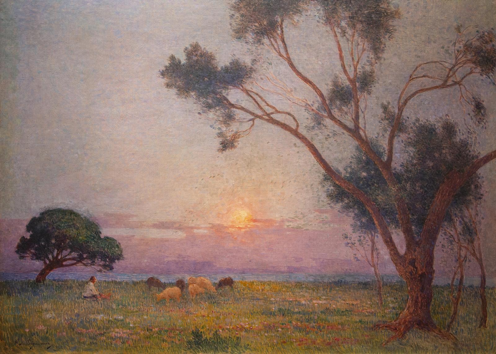 Ferdinand du Puigaudeau, Berger et ses Moutons au Soleil Couchant