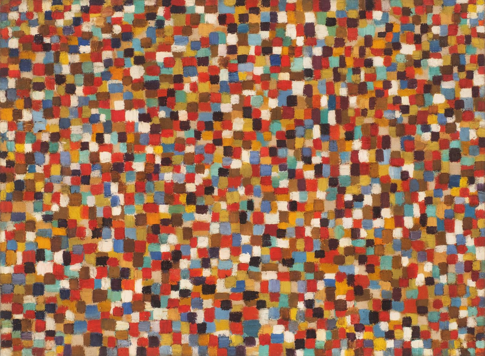 an abstract painting comprised of many small colored squares