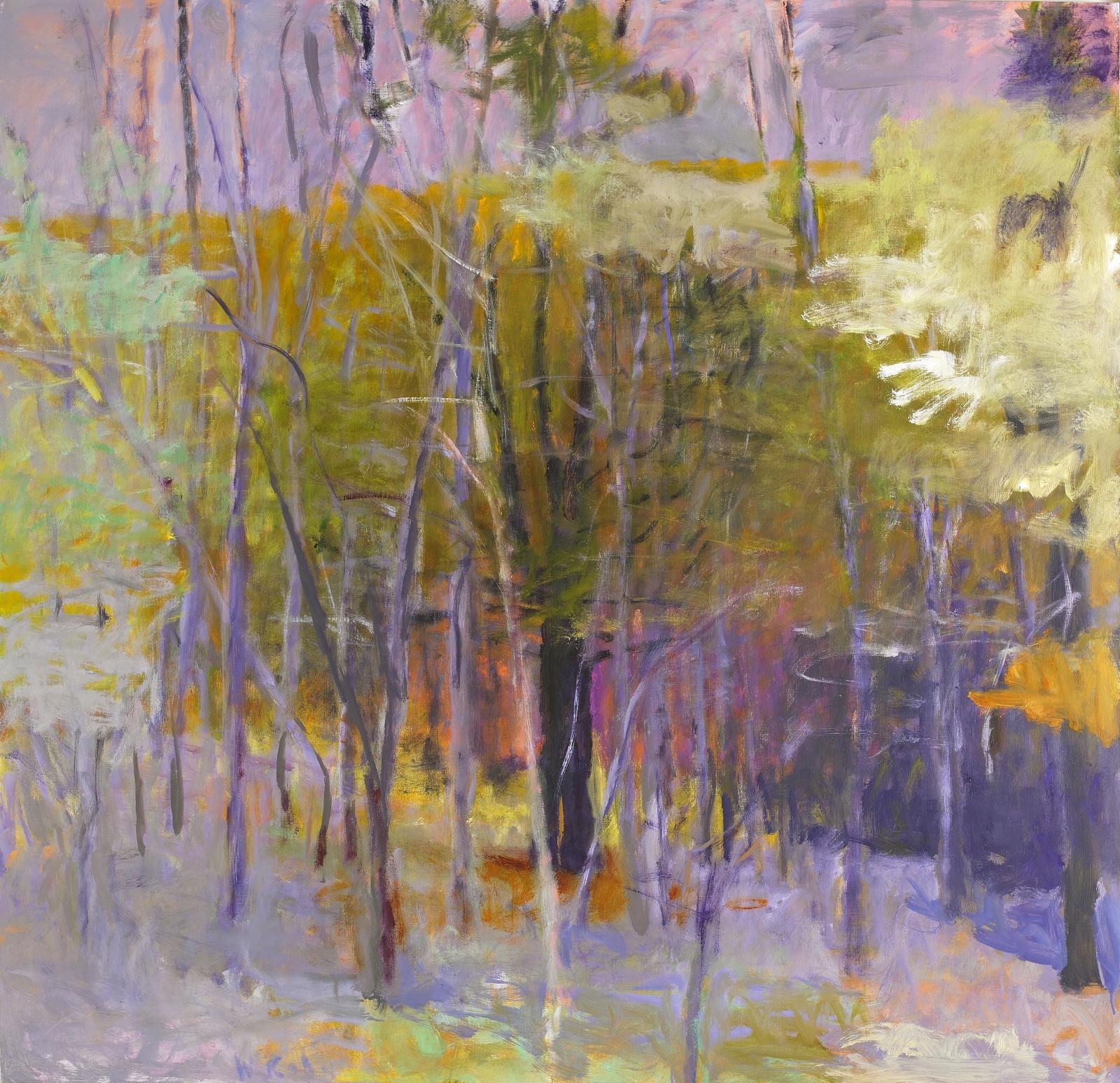 a landscape with trees in bright pastel colors