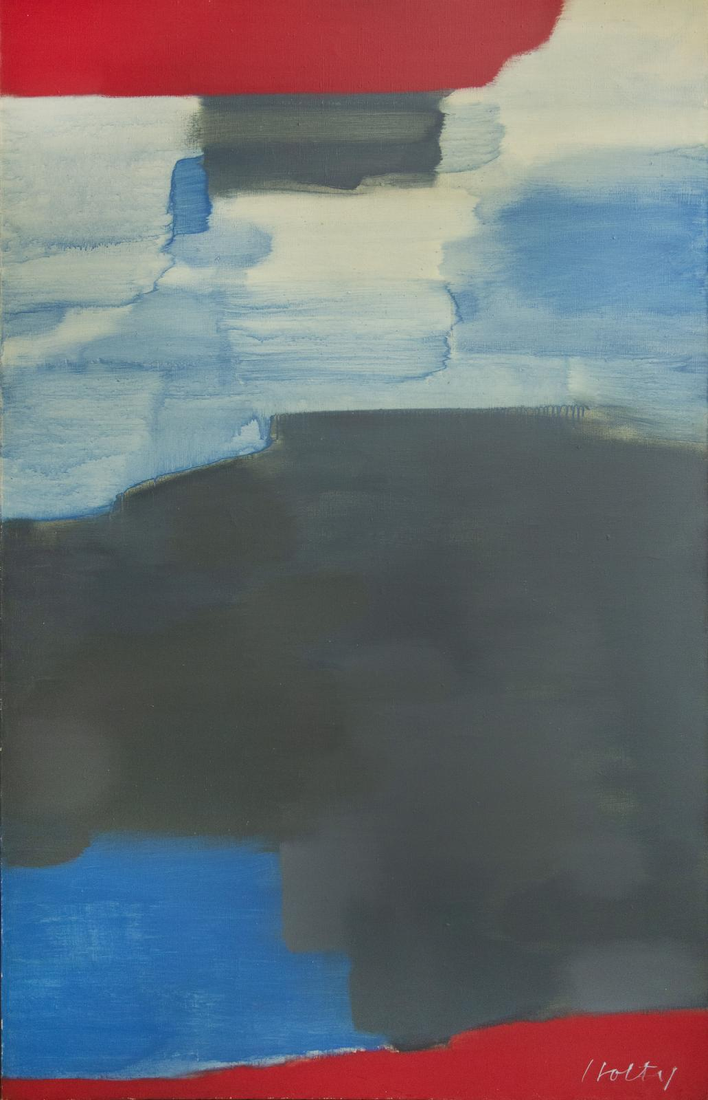 Untitled (Gray, Blue, and Red)