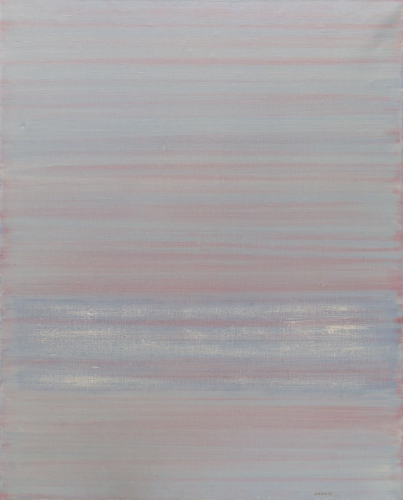 An abstract painting in cool horizontal stripes