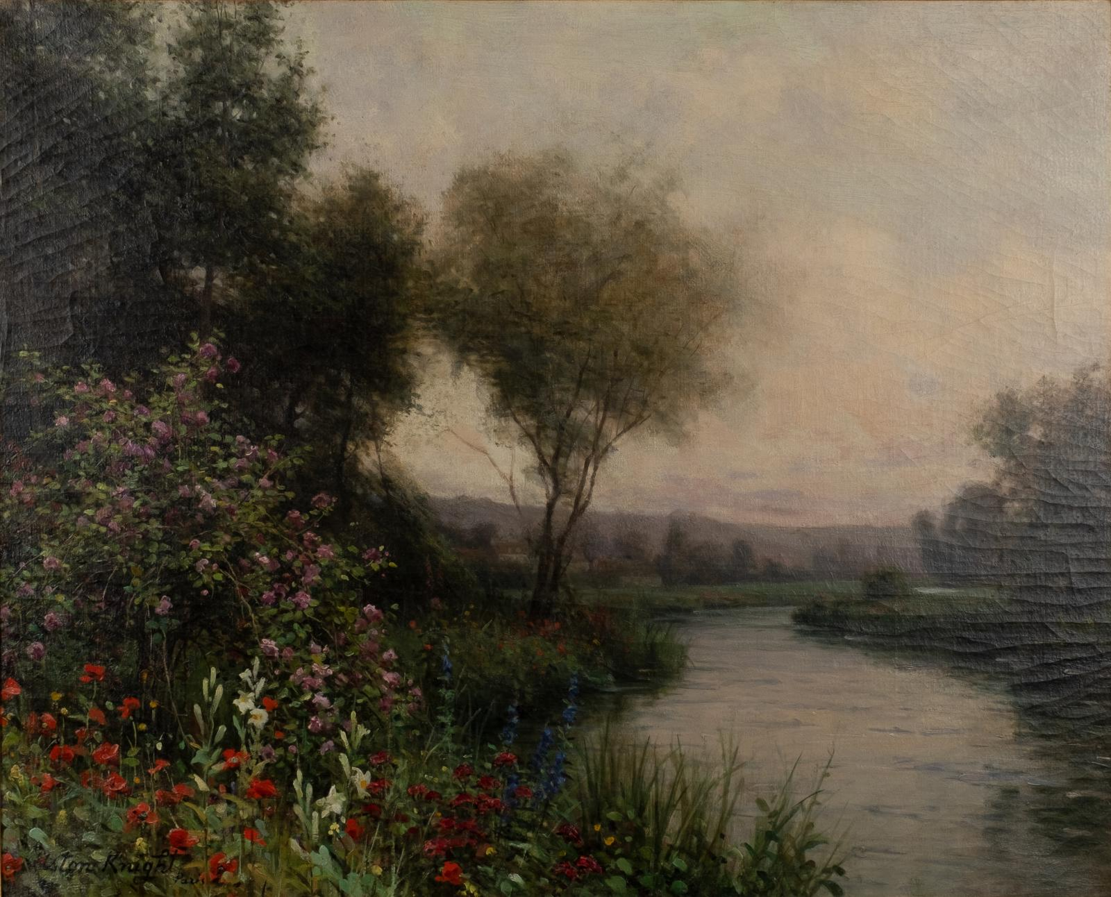 A lush landscape with a river on the right and trees and flowers on the left