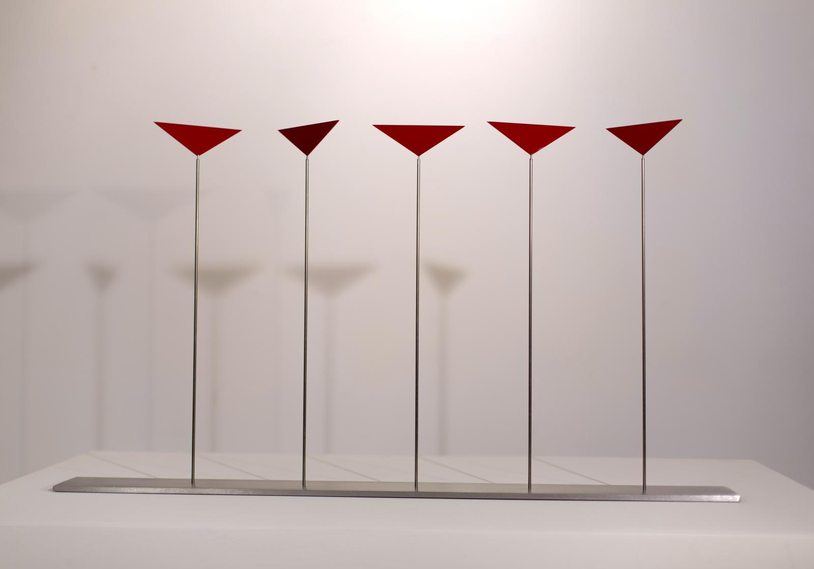 Roger Phillips, Five Triangles on Rods, 2015