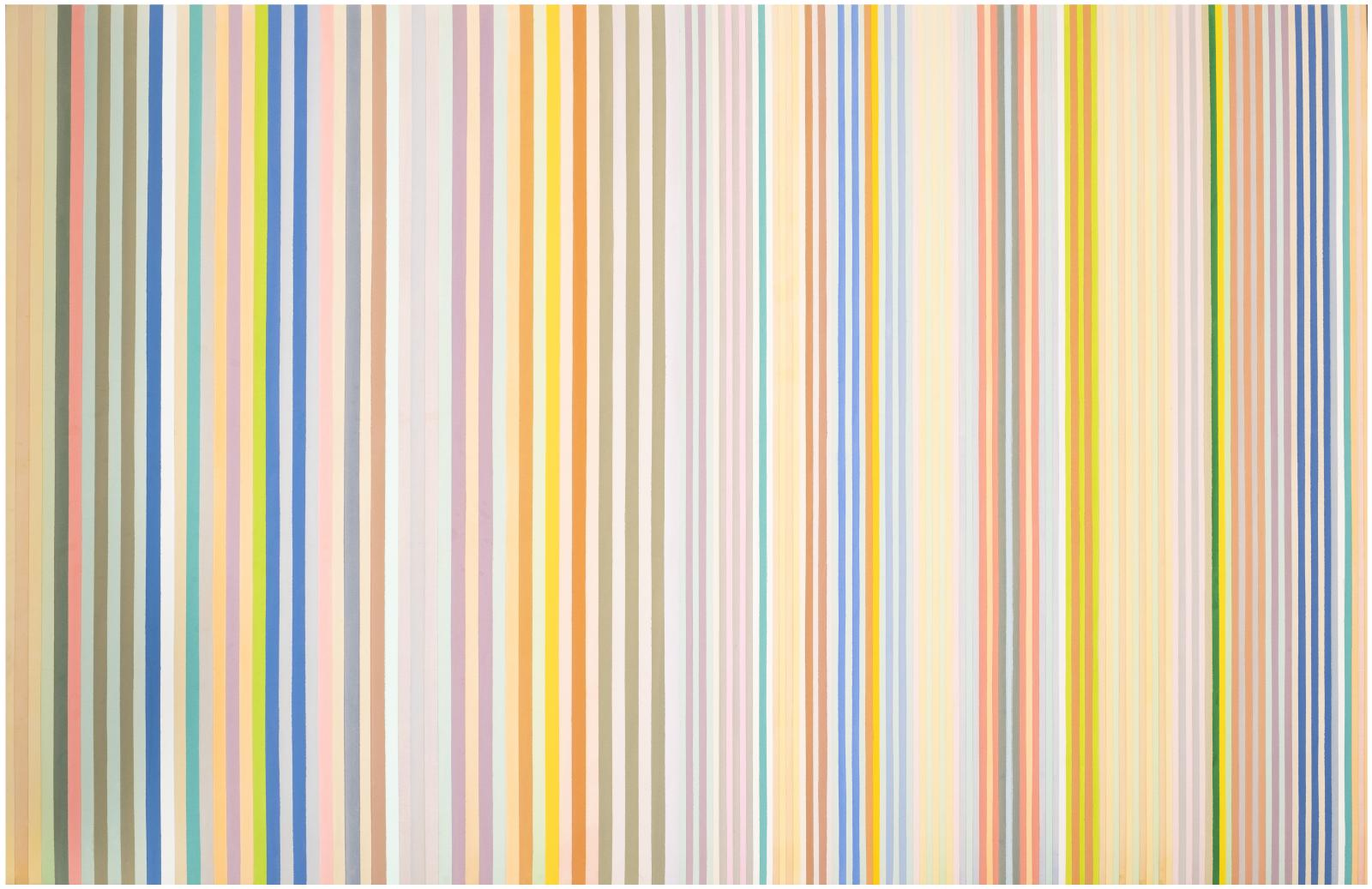 An abstract painting consisting solely of vertical stripes in muted tones