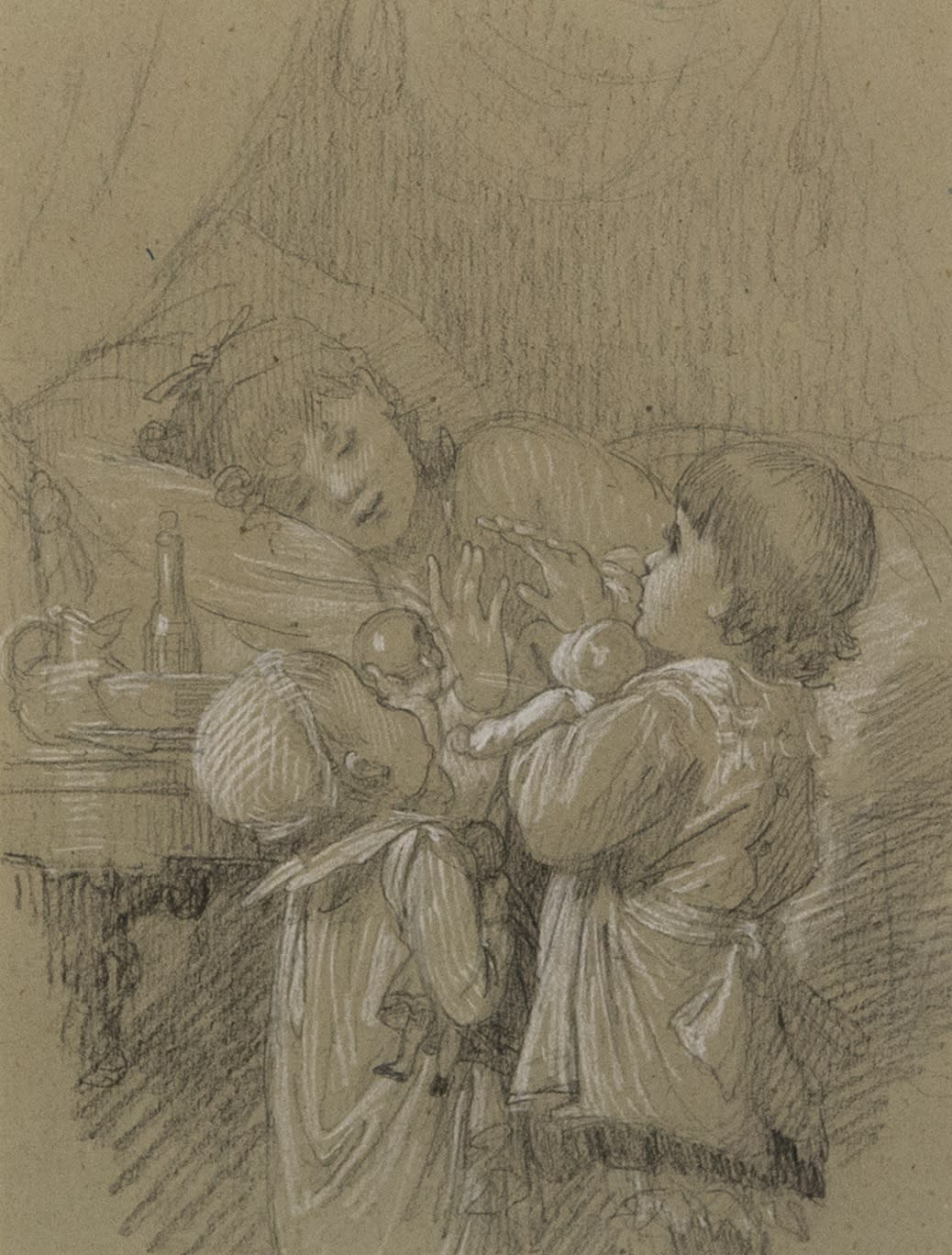A Woman in Bed, with Two Children Bringing Gifts