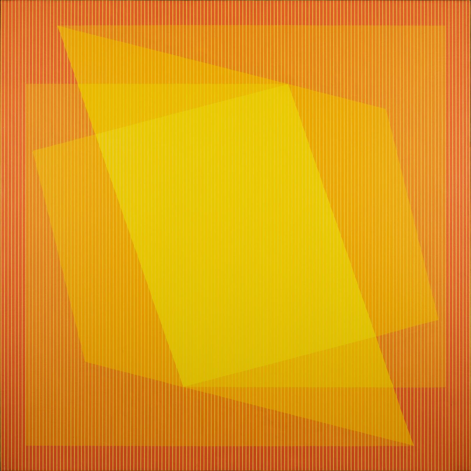 An optically vibrating geometric painting in oranges and yellows