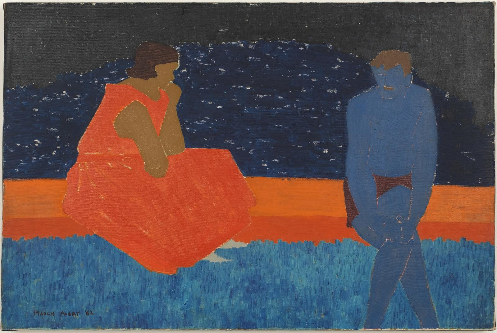A painting in bold orange, black and blue of two figures seated