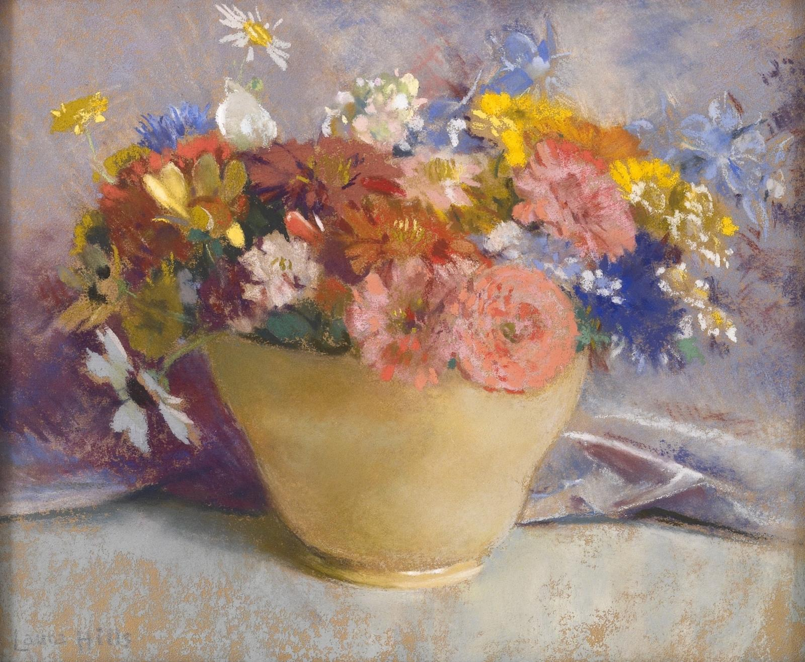 Mixed Flowers in a Yellow Vase