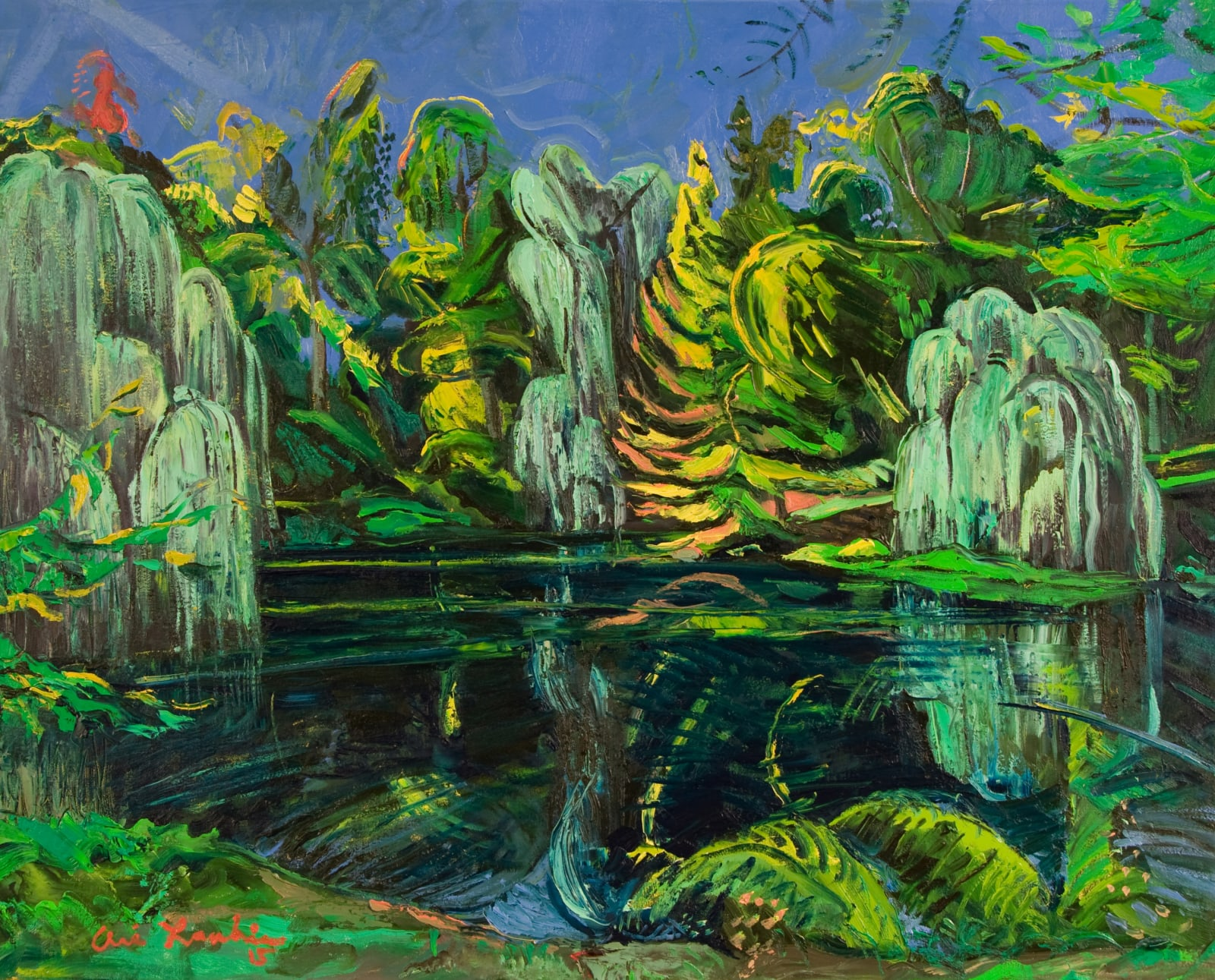 Ari Lankin, Three Willows Overlook The Pool, Central Park, 2015