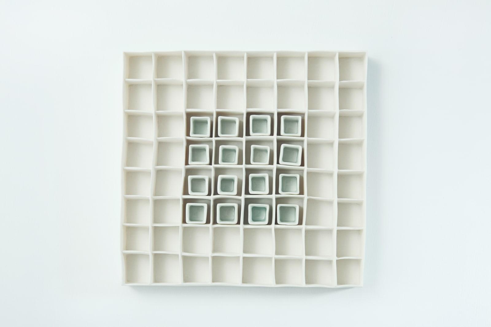 Isobel Egan, Porcelain Grid with Celadon Blue, 2018