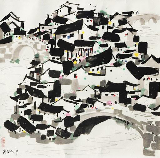 Wu Guanzhong 吳冠中, A Village of Bridges 橋鄉, 1992