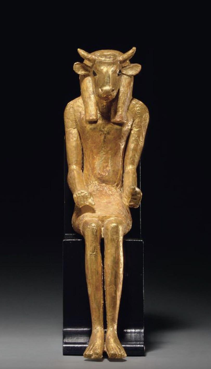 8. An Egyptian Gold Apis Egyptian, Ptolemaic Period, 304-30 B.C.