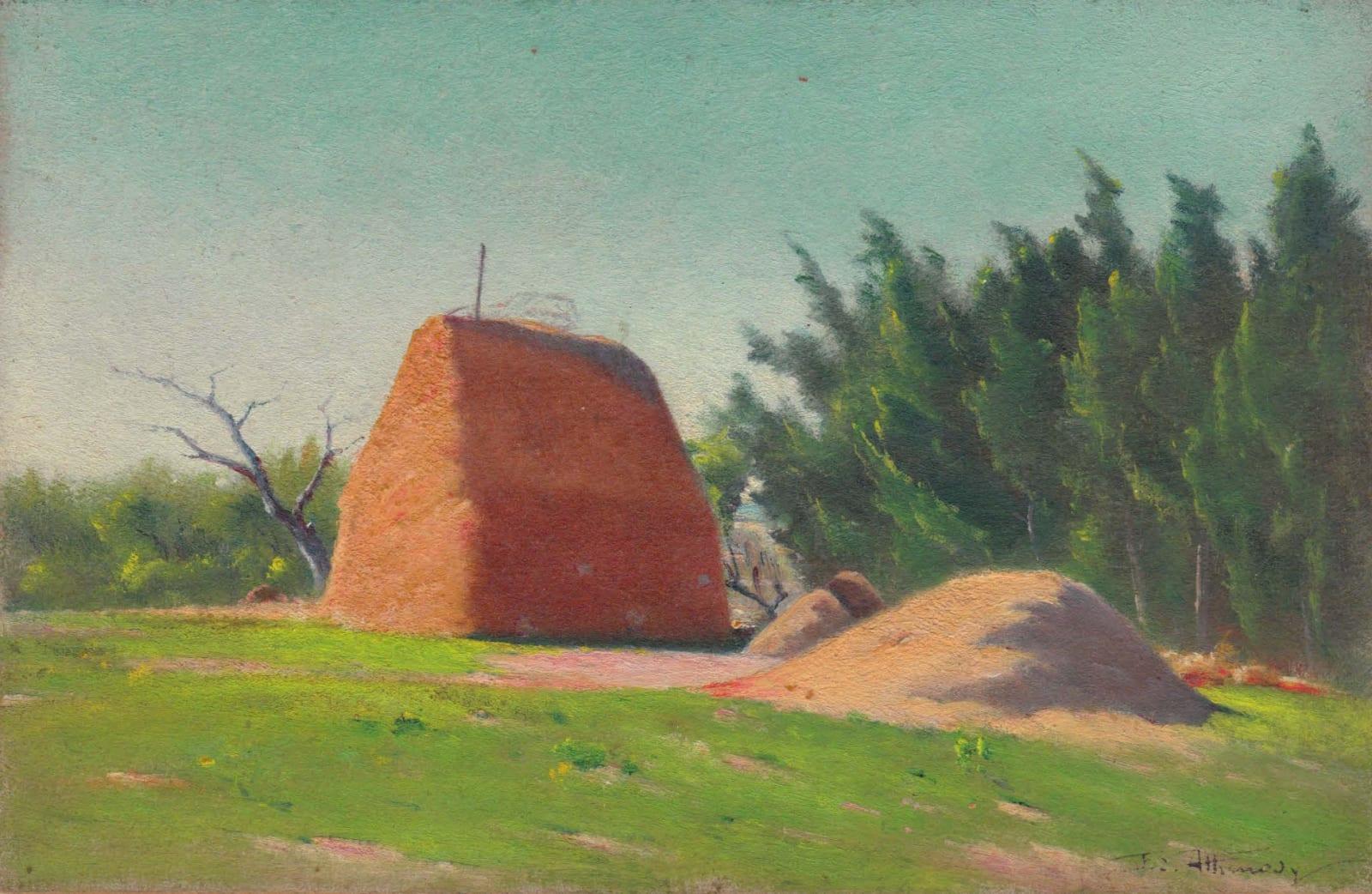 EDOUARD ATHÉNOSY, Haystack with cypress, 1899