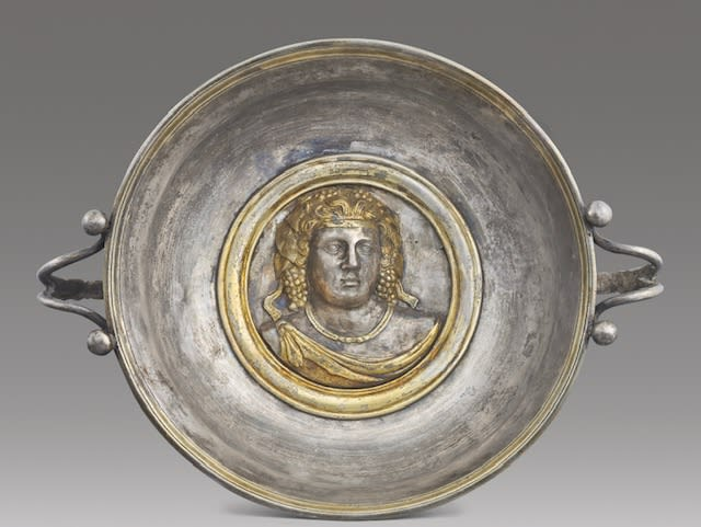 11. Silver Dish With Gilt Bust Of Dionysos Greek, Late Hellenistic Period, first century B.C. to first century A.D.