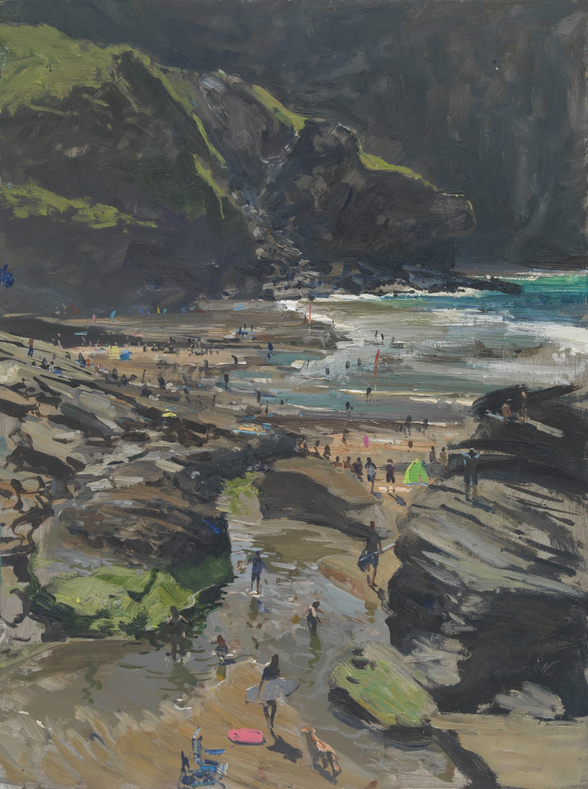Peter Brown ROI NEAC, As the Tide Rushes in, Trebarwith Strand 2020