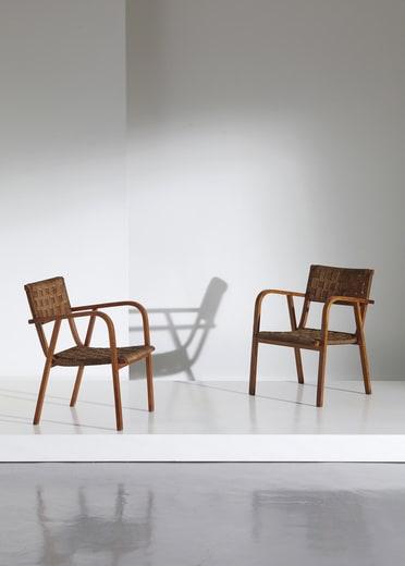 Italian, 1940s, Pair of armchairs