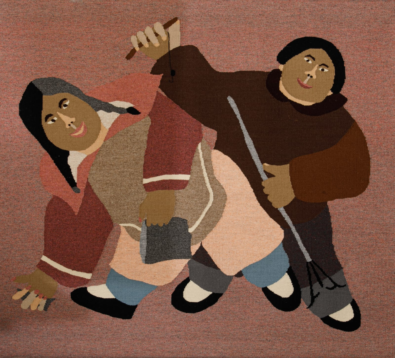 ANNIE PITSIULAK (1950-) PANNIRTUQ (PANGNIRTUNG) Going Fishing, 1964 #265 woven and dyed wool, 52.5 x 57 in (133.3 x 144.8 cm)
