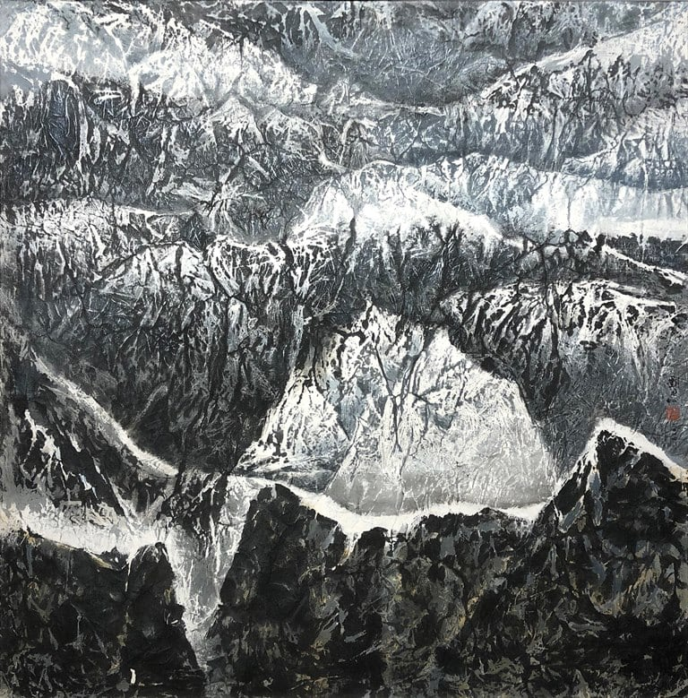 Liu Kuo-Sung 劉國松, The Secluded Area of Mountain Tops 群嶺頂峰秘境圖, 2014