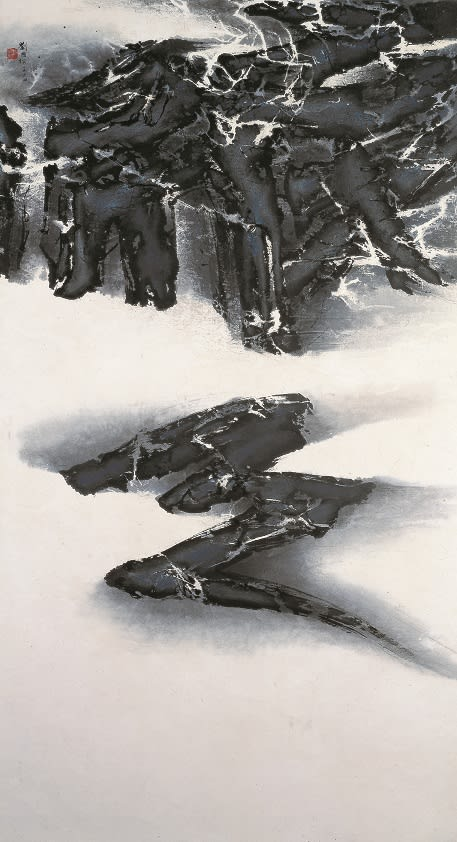 Liu Kuo-Sung 劉國松, A Trace of Darkness 一抺沈黑, 1964