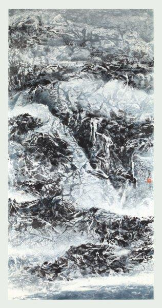 Liu Kuo-Sung 劉國松, Dazzled by the Fairy Mountain 今看仙山目暫明, 2017