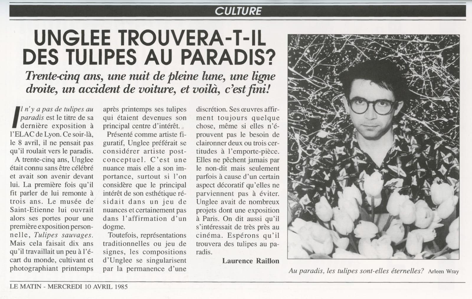 Unglee, Unglee trouvera-t-il des tulipes au paradis, Paris 1993, 1995