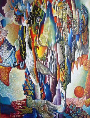 Aristide Caillaud, Composition aux coraux et à l'oiseau, 1977
