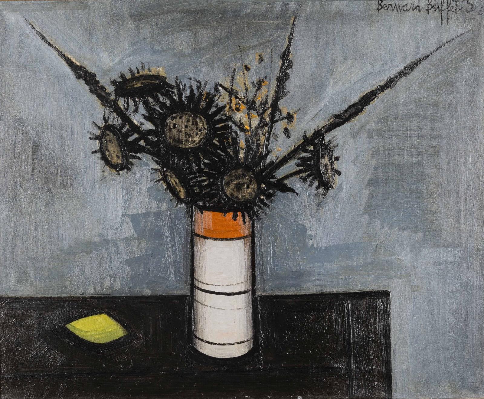 Bernard Buffet, Fleurs dans un vase cylindrique, 1952