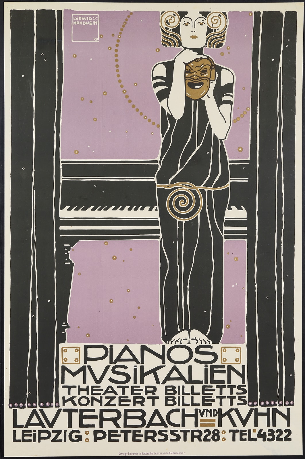 Ludwig Hohlwein Poster For The Lauterbach Kuhn Music Store Leipzig Adaa