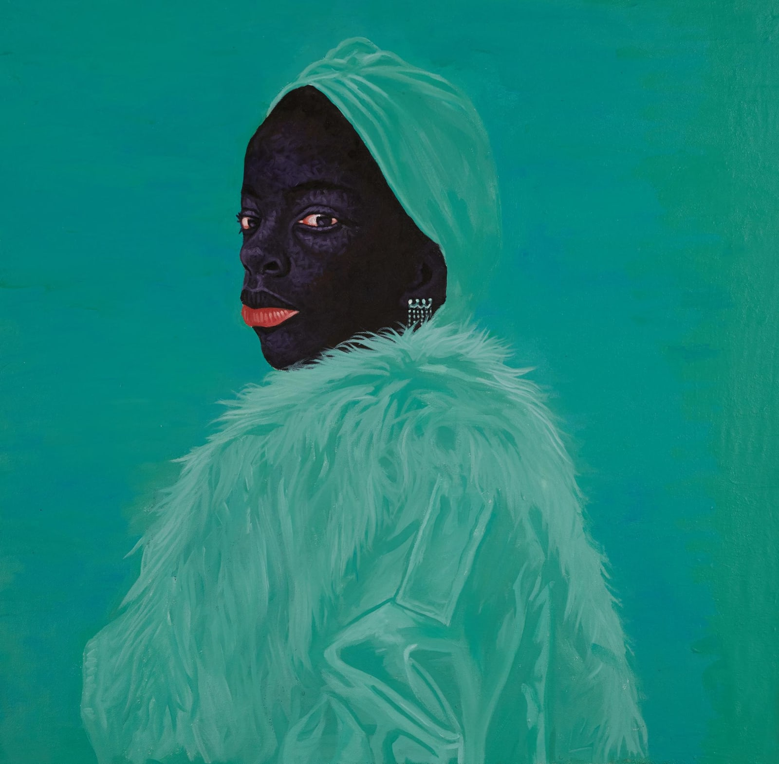 Kwesi Botchway, Green Fluffy Coat, 2020