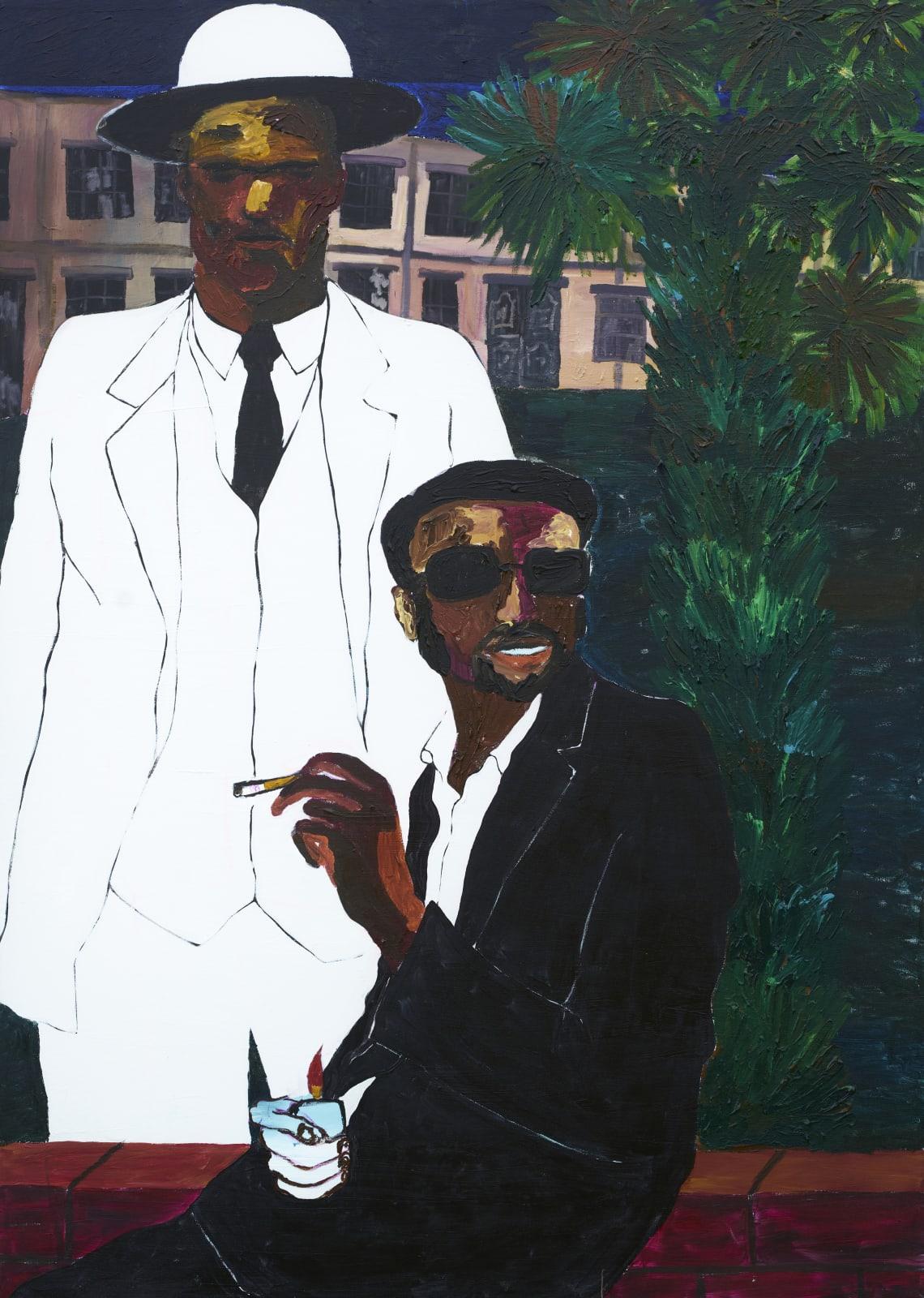 Gideon Appah, Two men on an empty street, 2020