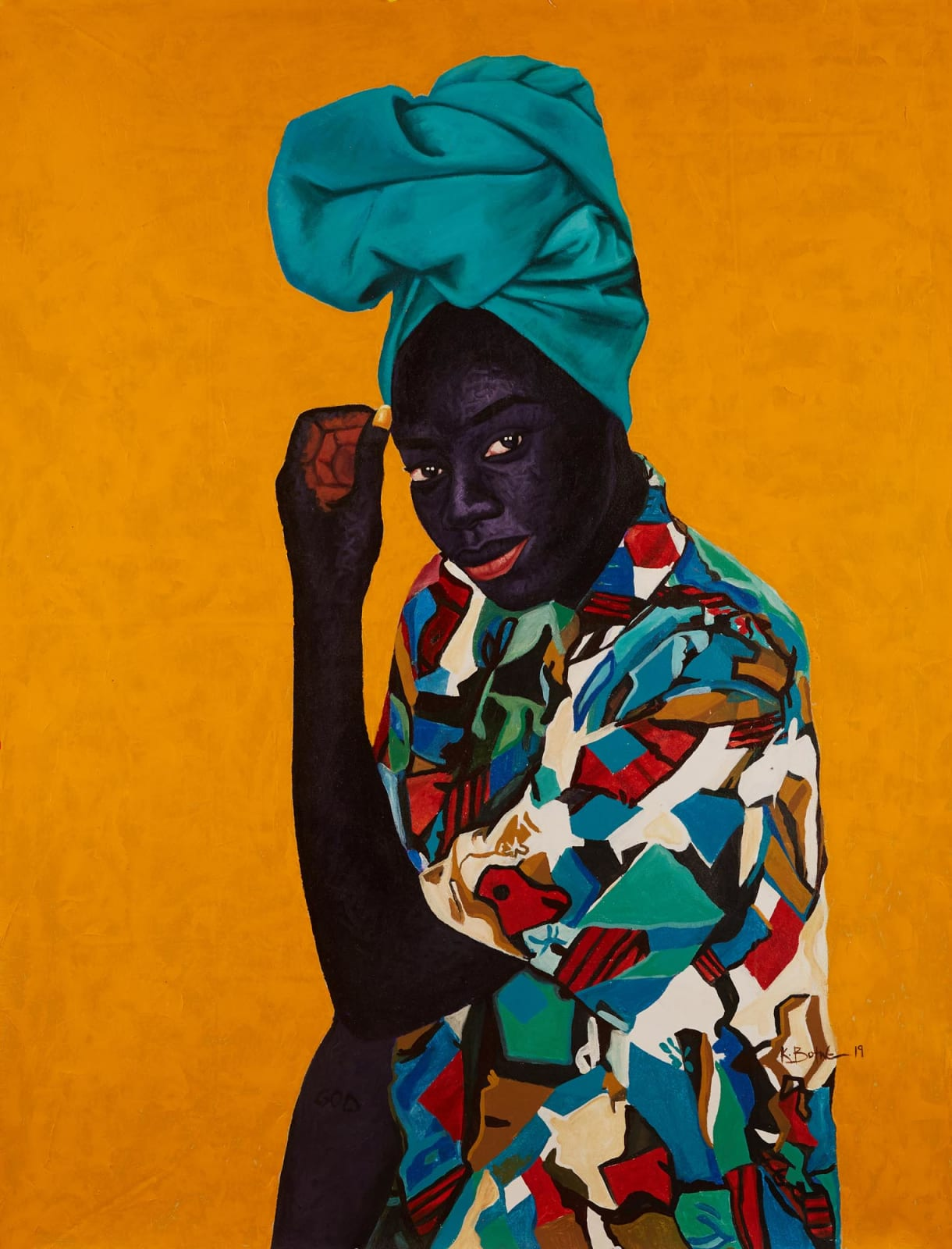Kwesi Botchway, Turquoise Duku, 2020