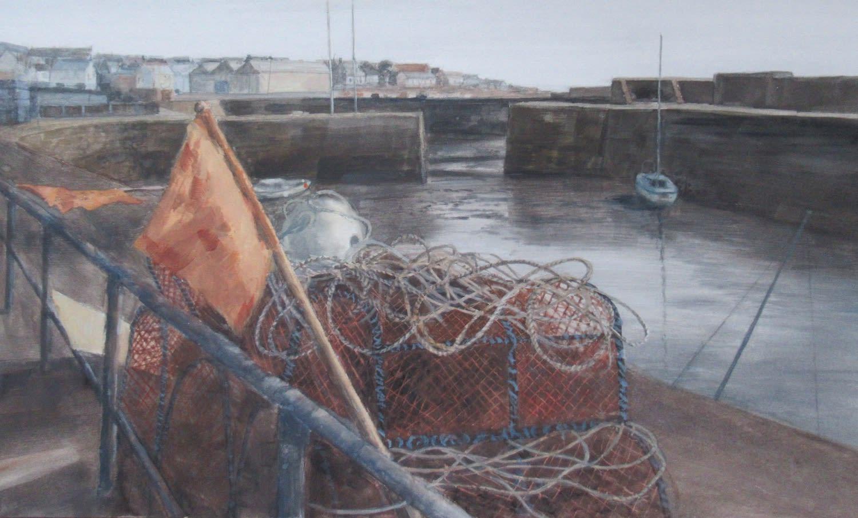 David Johnston RSW, Low Tide, The Harbour, Johnshaven