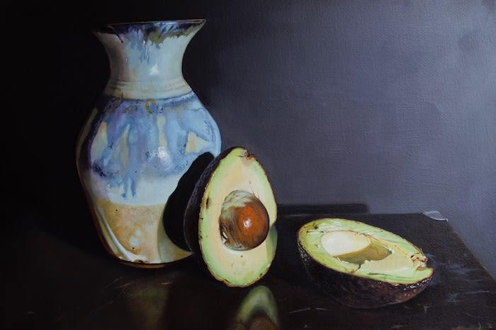 Jane Cruickshank, Still Life with Vase and Avocado