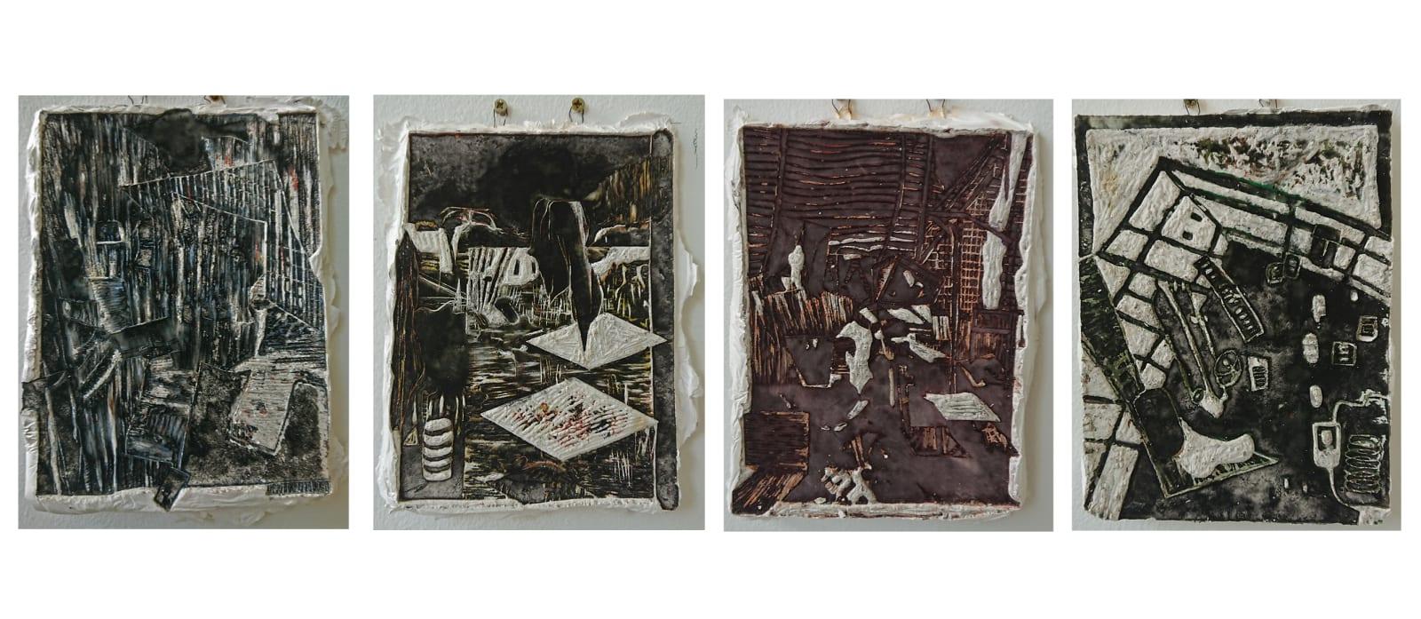 Lindsay Burns, Series of Lino Cut Cast Prints (set of 4)