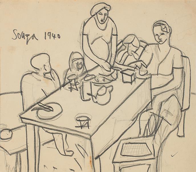 Francis Newton Souza, Untitled (Family), 1940