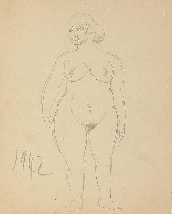 Francis Newton Souza, Untitled (nude lady), 1942