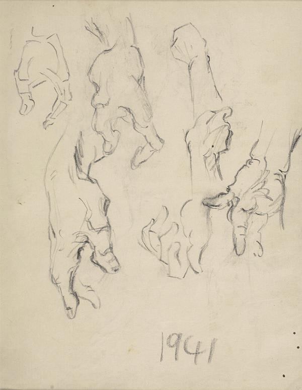Francis Newton Souza, Untitled (Hands), 1941