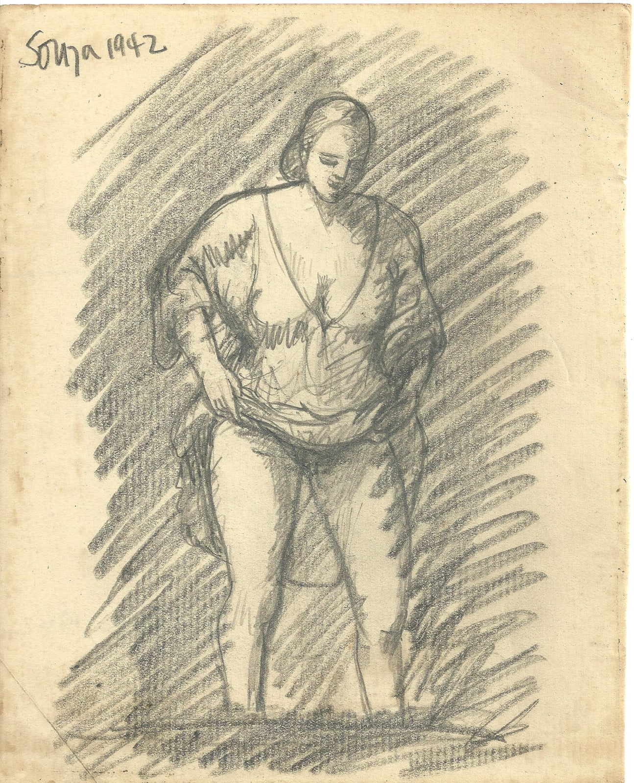 Francis Newton Souza, Untitled (after Rembrandt) recto ; Untitled verso, 1942