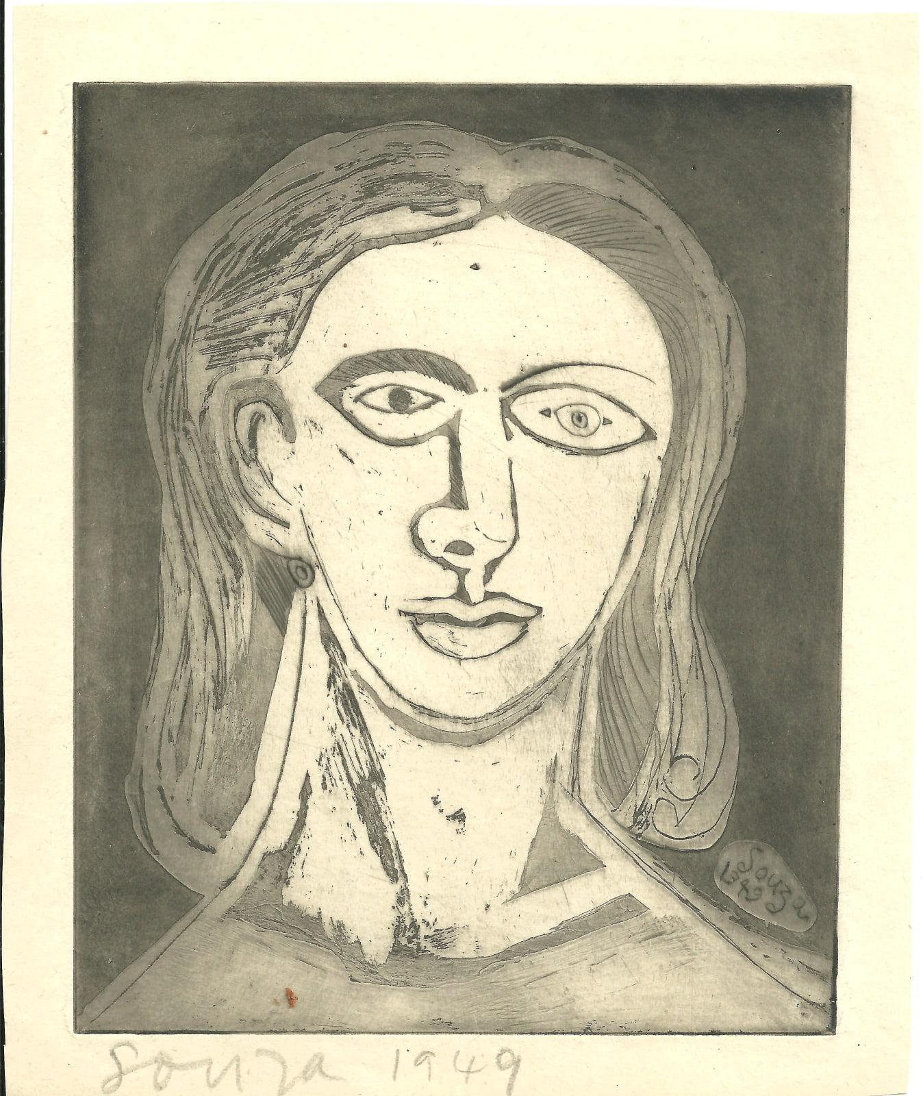 Francis Newton Souza, Untitled (Head of a woman), 1949