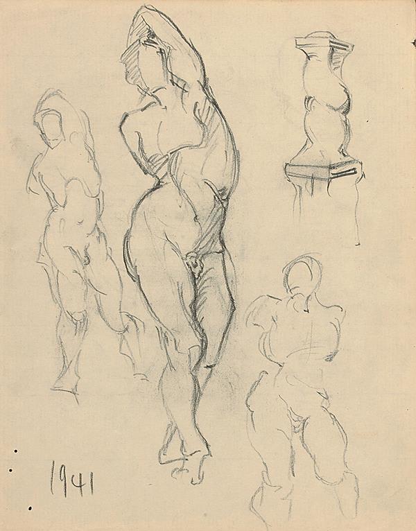 Francis Newton Souza, Untitled (Male nude studies), 1941