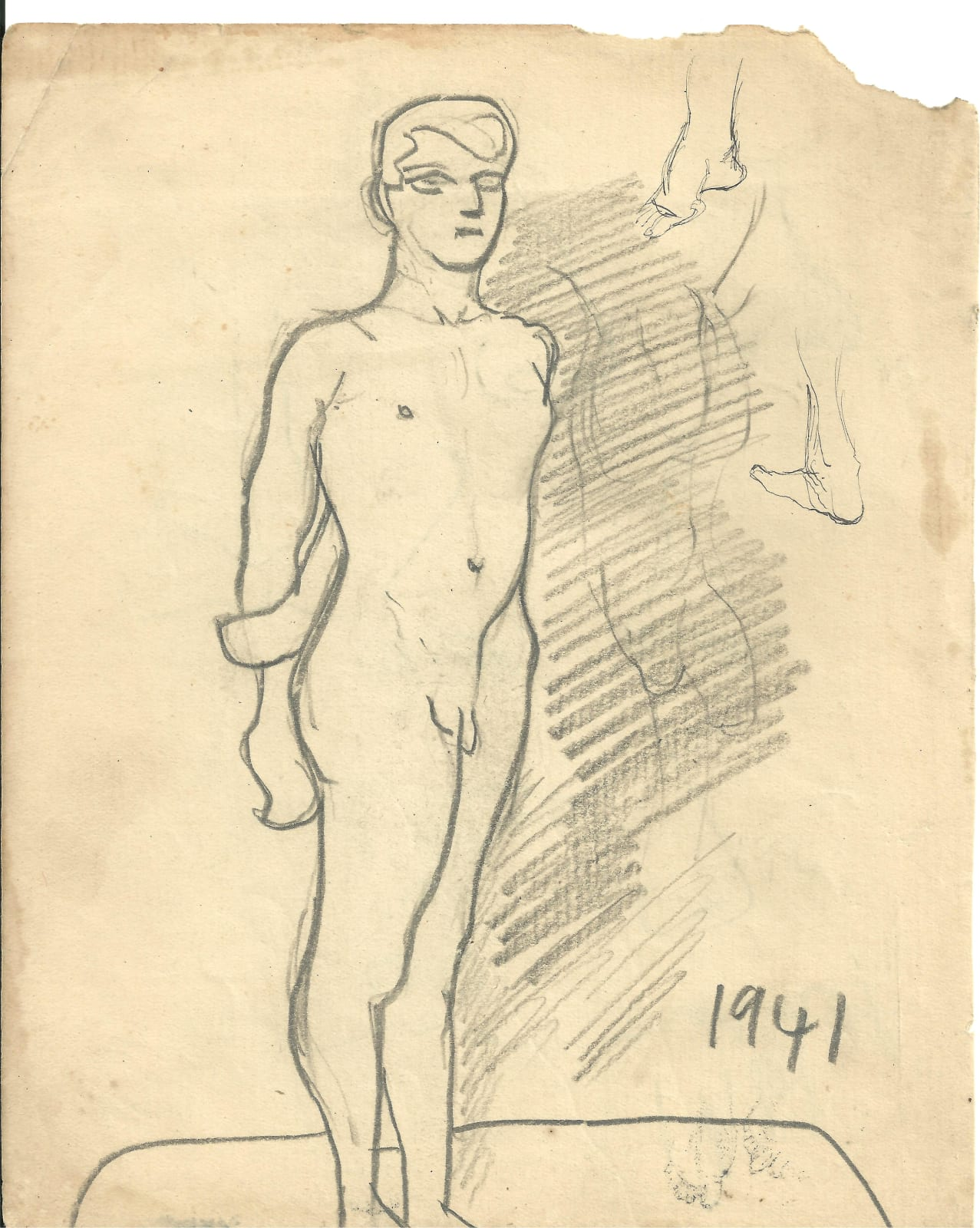 Francis Newton Souza, Untitled (Nude) recto ; Unittled (Noses) verso, 1941