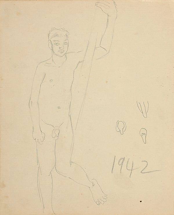 Francis Newton Souza, Untitled (Nude male), 1942