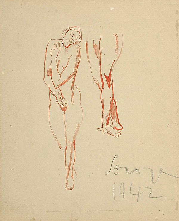 Francis Newton Souza, Untitled (Nude study), 1942